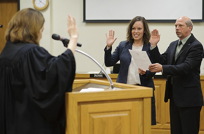 erin wiseman being sworn in with judge